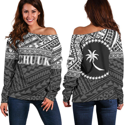 Chuuk Polynesian Black White Version Shoulder Sweater