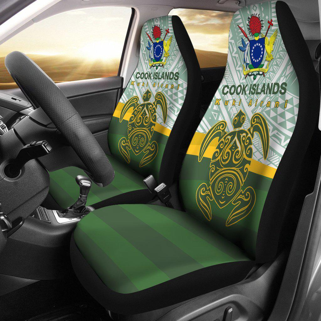 Cook Islands Flag Turtle Tattoo Car Seat Covers - luxamz