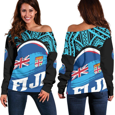 Fiji Polynesian Pattern With Flag Shoulder Sweater - luxamz