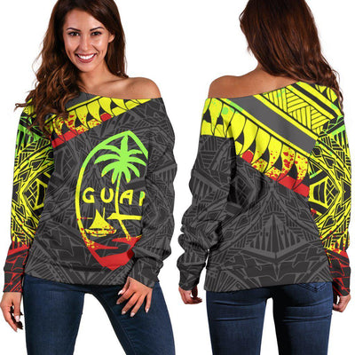 Guam Custom Personalised Ginger Lei Pattern Reggae Shoulder Sweater - luxamz