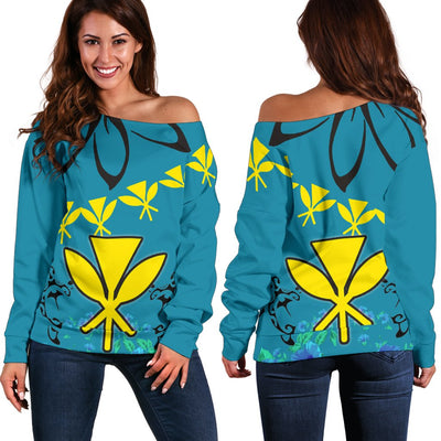 Hawaii Polynesian Pattern With Flag Shoulder Sweater - luxamz