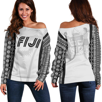Fiji Coat Of Arms Coconut Tree Sports Style Shoulder Sweater