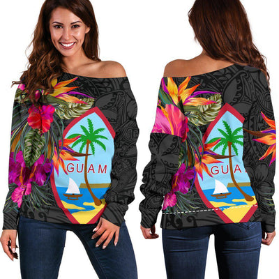 Guam Hibiscus Polynesian Pattern Women's Off Shoulder Sweater - luxamz