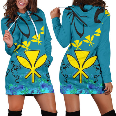 Hawaii Polynesian Pattern With Flag Hoodie Dress