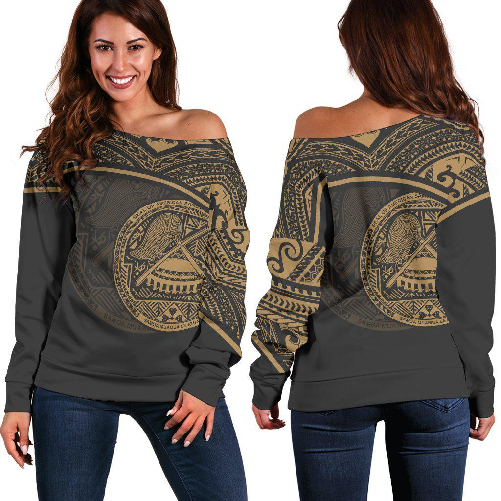 Polynesian American Samoa Gold Women's Off Shoulder Sweater