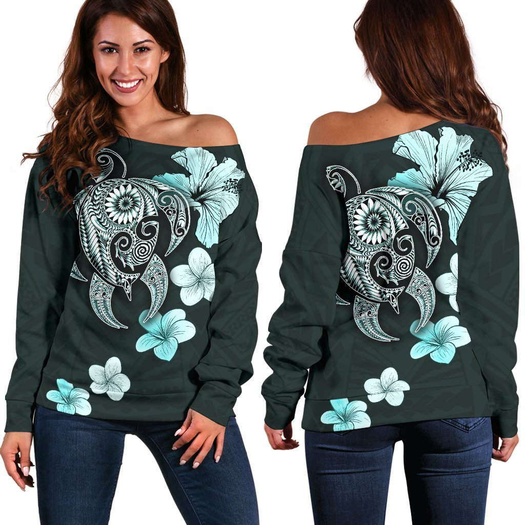 Hibiscus Plumeria Mix Polynesian Turquoise Turtle Women's Off Shoulder Sweater