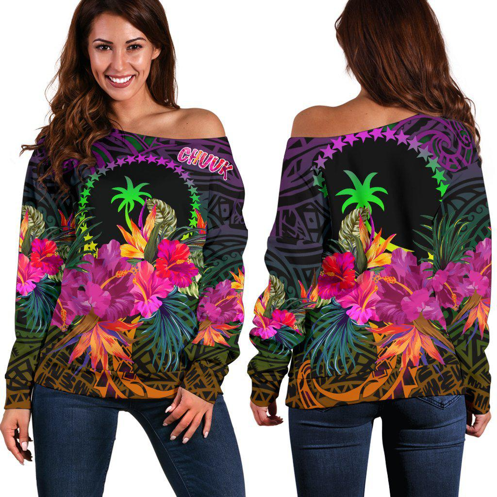 Chuuk Personalised Summer Hibiscus shoulder sweater