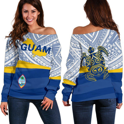 Guam Flag Turtle Tattoo Shoulder Sweater