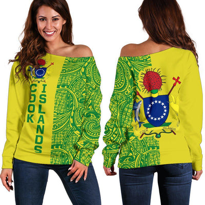 Cook Islands Coat Of Arms Polynesian Tattoo Half Style Shoulder Sweater