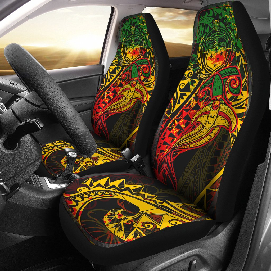 Tahiti Red Shark Polynesian Tattoo Color Car Seat Covers - luxamz