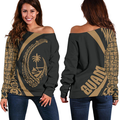 Guam island with natural beauty and tropical forest polynesians shoulder sweater - luxamz