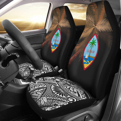 Guam Polynesian Palm Tree Black Car Seat Covers - luxamz