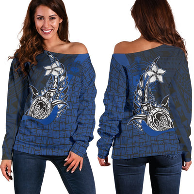 Samoa Polynesian Turtle with Hook Women's Off Shoulder Sweater