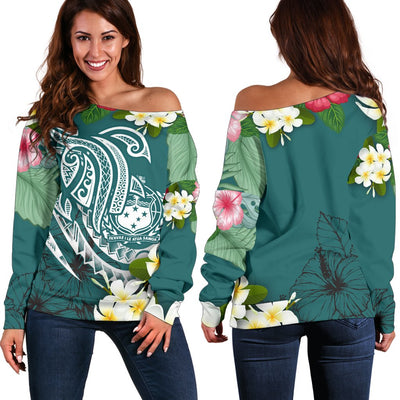 Samoa Polynesian Summer Plumeria Shoulder Sweater - luxamz