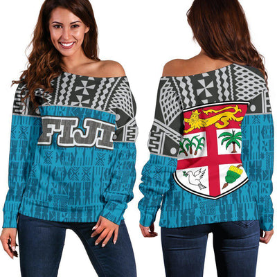 Fiji Tapa Polynesian Blue Off Shoulder Sweaters