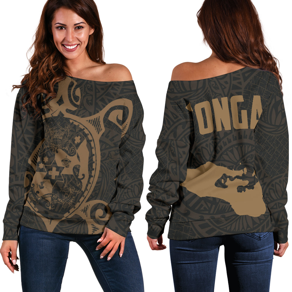 Tonga Polynesian Tonga Coat Of Arms In Turtle Map Gold Shoulder Sweater