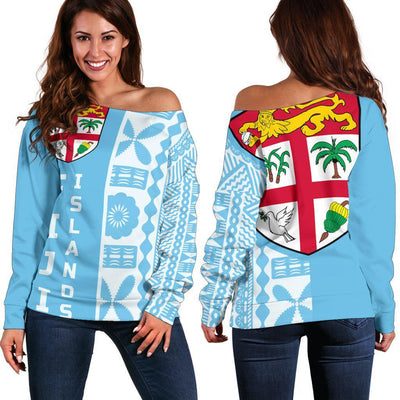 Fijian Fiji Flag Half Tapa Style Shoulder Sweater