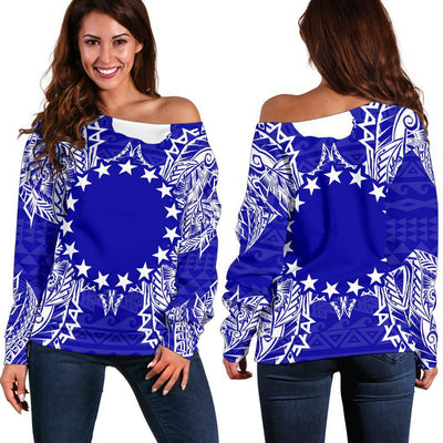 Polynesian Cook Islands Blue Women's Off Shoulder Sweater