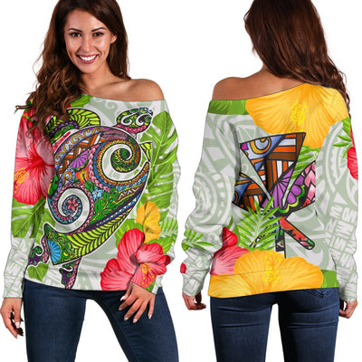 Polynesian Hawaii Hoodies Turtle Colorful Shoulder Sweater