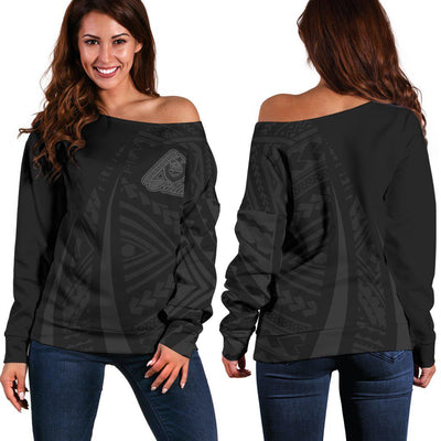 Guam Polynesian Coat Of Arms Grey Shoulder Sweater - luxamz