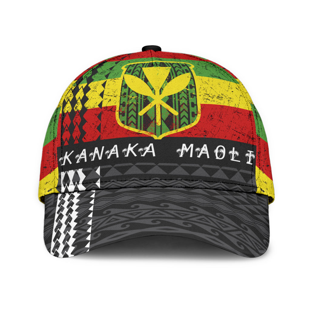 HAWAII FLAG POLYNESIAN BLACK PATTERN CLASSIC CAP - luxamz
