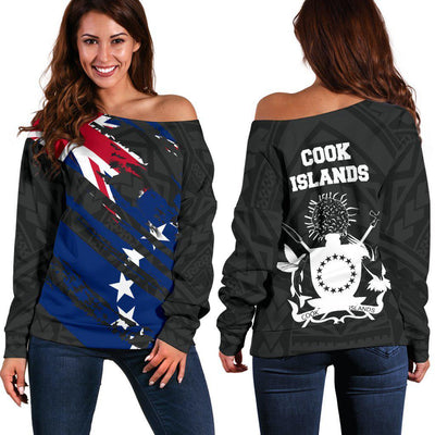 COOK ISLANDS FLAG COAT OF ARMS POLYNESIAN Shoulder Sweater - luxamz