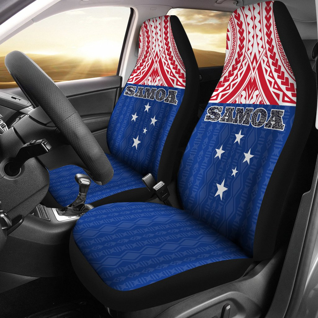 Samoa Polynesian Blue and Red Pattern Car Seat Covers