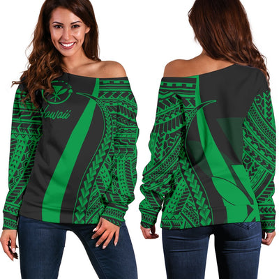 Hawaii T-Shirt Kanaka Maoli Green Polynesian Tentacle Tribal Pattern Shoulder Sweater - luxamz