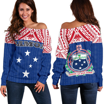Samoa Polynesian Blue and Red Pattern Women's Off Shoulder Sweater