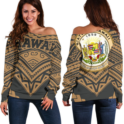 Hawaii Tribal New Warrior Style Polynesian Golden Off Shoulder Sweater