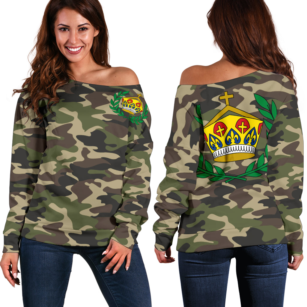 Tonga Sherpa Camo Shoulder Sweater