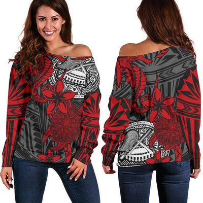 American Samoa Red Seahorse Turtle Floral Pattern shoulder sweater