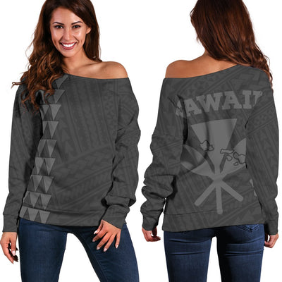 Hawaii Kakau Kanaka Map Grey Off Shoulder Sweater - luxamz