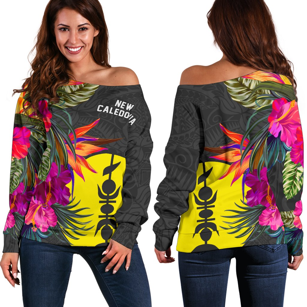 New Caledonia Polynesian Hibiscus Pattern Shoulder Sweater - luxamz