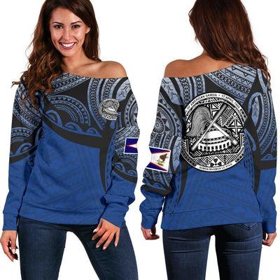 American Samoa Polynesian Tattoo Pattern Shoulder Sweater