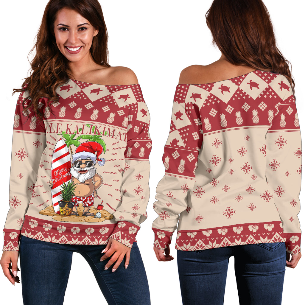 Hawaiian Christmas Aloha Hawaii Mele Kalikimaka Ugly Shoulder Sweater