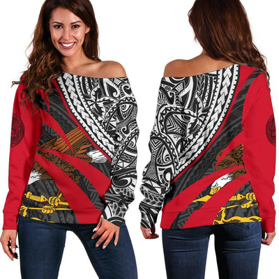 American Samoa Black Red Floral Pattern Ppolynesian shoulder sweater