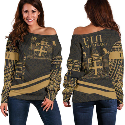 Fiji In My Heart Style Gold Polynesian Patterns shoulder sweater