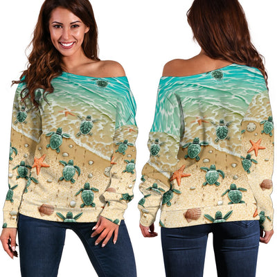 Sea Turtle 3D All Over Printed Shirt Shoulder Sweater