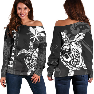 hawaii island turtle lover with flag polyneisan shoudler sweater