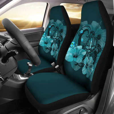 Hawaiian Map Big Turtle Hibiscus Plumeria Tribal Polynesian Car Seat Covers