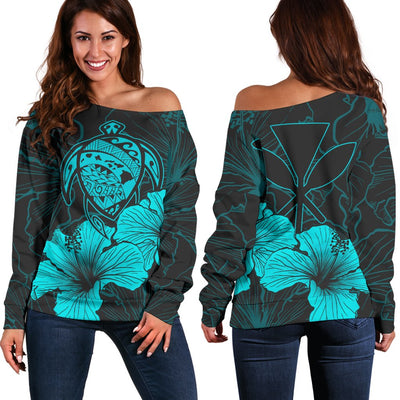 Hawaii Hawaiian Polynesian Turquoise Off Shoulder Sweater