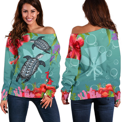 Kanaka Maoli Hawaiian Polynesian Turtle Hibiscus And Seaweed  Shoulder Sweater