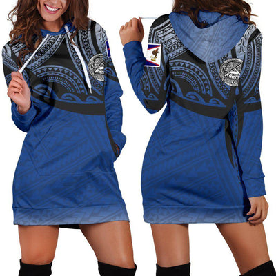 American Samoa Polynesian Tattoo Pattern Hoodie Dress