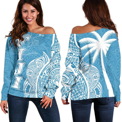 Fiji Polynesian Coconut palm with pattern curvey Shoulder Sweater
