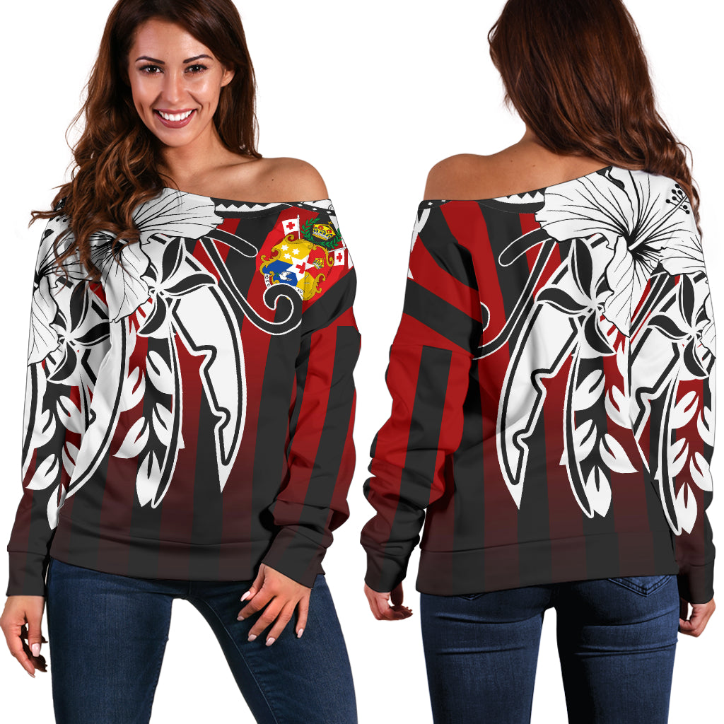 Tonga - Vertical Stripes Style Shoulder Sweater