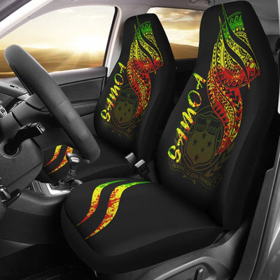 Samoa Custom Color Tatau White Patterns Car Seat Cover
