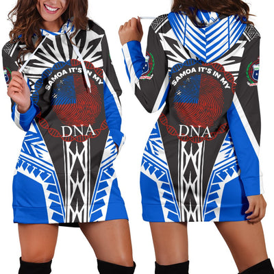 Samoa It's In My DNA Color Blue Hoodie Dress - luxamz