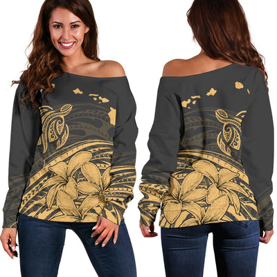 Hawaiian Map Turtle And Plumeria Polynesian Off Shoulder Sweater - luxamz