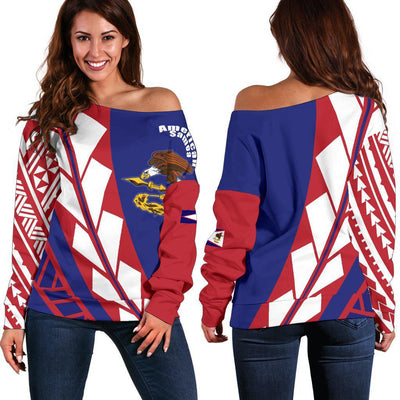 American Samoa Flag Edition Pullover Shoulder Sweater - luxamz